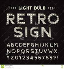 retro sign alphabet vintage light bulb type letters and numbers