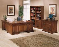 Classic Home Office Furniture Idea With Brown Wooden Desk And Cabinet Also Shelves Combine Rustic Rug On The Maple Wood Floor