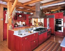 Rustic Red Kitchen Cabinets Fabulous Painted Trendy Design