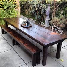 simple outdoor dining area with rustic outdoor furniture of wooden
