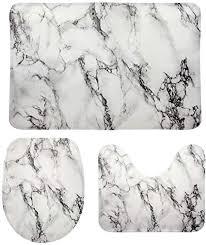 mydaily 3 teiliges badezimmermatten set marmorsteinrissig abstrakte linien rutschfester wc vorleger wc deckelbezug badematte