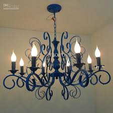 Luxury Painted Blue Iron 31 8 Lights Chandeliers New Modern Living Dining Room Light Bedroom Parlor Pendant Lamp