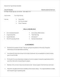 Simple Resume Template For High School Students Examples Free Templates Highschool
