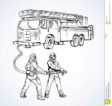 Fire Truck. Vector Drawing Stock Vector. Illustration Of Clothing ...