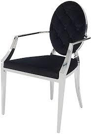 dunord design esszimmerstuhl barockstuhl schwarz silber samt
