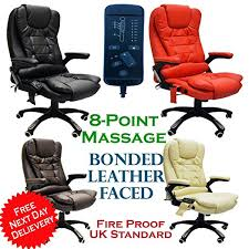 Massage Chair Amazon Uk by Premium Leather Reclining Office Chair With 8 Point Massage