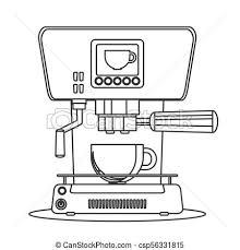 Contour Icon Coffee Machine With A Mug Stock Flat Vector Illustration