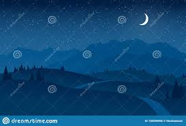 100 Mountain Design Group S And Hills At Night Landscape Flat Stock