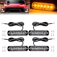 100 Strobe Light For Trucks 4X Amber 6 LED Car Truck Flash Emergency Beacon Hazard
