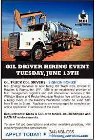 Oil Driver Hiring Event, MBI Energy Services Hshot Trucking Pros Cons Of The Smalltruck Niche Hot Shot Truck Driving Jobs Cdl Job Now Tomelee Trucking Industry In United States Wikipedia Oct 20 Coalville Ut To Brigham City Oil Field In San Antonio Tx Best Resource Quitting The Bakken One Workers Story Inside Energy Companies Are Struggling Attract Drivers Brig Bakersfield Ca Part Time Transfer Lb Transport Inc Out Road Driverless Vehicles Are Replacing Trucker 10 Best Images On Pinterest Jobs