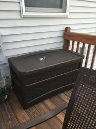 Suncast 195 Gallon Deck Box Manual by Suncast 73 Gallon Java Resin Wicker Storage Seat Deck Box With