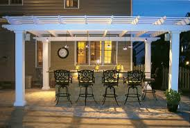 Mesmerizing Outdoor Bar Kitchen Design With White Painted Wood Pergola And Classic Black Iron Swivel Stools From DIY