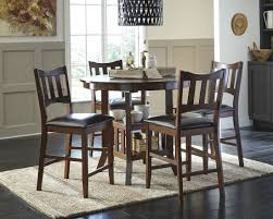 5 Piece Oval Dining Room Sets by Renaburg Medium Brown Oval Counter Extendable Dining Table From
