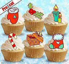 PRE CUT CHRISTMAS MIX IX EDIBLE RICE WAFER PAPER CUPCAKE CAKE TOPPERS BIRTHDAY WINTER