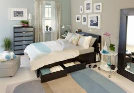 Epic Blue Cream Ikea USA Bedroom Decoration Using Light Grey Wall Paint Including Black Wood Storage King Bed Frame And White Arranged Photo