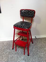 Cosco Retro Chair With Step Stool Black by Redo On Retro Kitchen Step Stool Chair In Red And Black And White