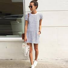 2016 Black White Striped Elegant Women Shirt Dress Top Tee Summer Style Short Sleeve Stripes Loose Casual Jersey Mini Shift Tie