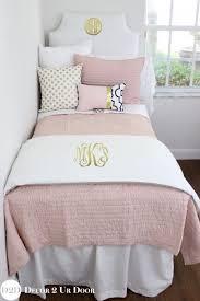 Blush Pink White Black Designer Teen Girl Bedding Set