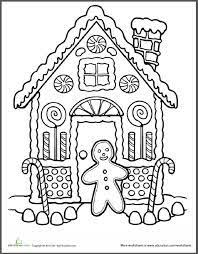 Do Some Gingerbread House Coloring With This Festive Holiday Worksheet Try Your Child C