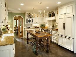 KitchenClassic White French Country Kitchen Design With Vintage Wooden Island Table Also Marble