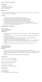 Nursing Resume Examples Labor And Delivery With