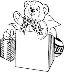 Teddy Bear For Birthday Present Coloring Page