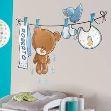 stickers fil a linge ours sur la corde à linge bleu avec nom