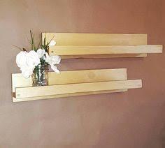 Floating Metallic Gold Swing Reclaimed Wood Triple Shelf