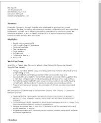 1 Community Outreach Specialist Resume Templates Try Them Now Samples Printable Service