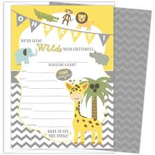 Amazoncom Baby Shower Invitations Jungle Safari Animal Theme Set