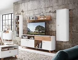 anbauwand wohnwand schrankwand fernsehwand wohnzimmerschrank wohnzimmerschrankwand eiche navarra pinie weiß modern retro