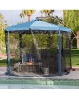 amazing deal on hton bay 11 ft offset led patio umbrella in tan