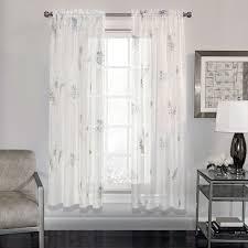 Kohls Sheer Curtain Panels by Semi Sheer Fern Print Voile Fabric 63 Inch Window Curtain Panel