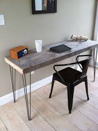 Weathered Barnwood Desk Modern Rustic Style Featuring Hairpin Legs 20 X 60