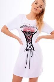 lace up front t shirt dress janel