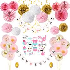 Girl Baby Shower Decorations Kit PinkGold Baby Shower Party Decor For Girl Set Of 64 Baby Shower Banner Photo Booth Props Paper Pom Poms And