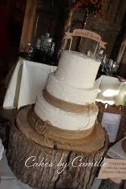 Vintage Rustic Wedding Cake Dessert Table Burlap And Rafia Border