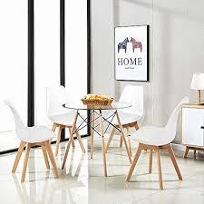 h j wedoo esszimmergruppe moderner glastisch rund esstisch mit 4 weiß tulip gepolsterter stuhl geeignet für esszimmer küche wohnzimmer