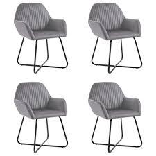 huicheng 4 stk esszimmerstühle samt stuhl grau sessel mit stahlbeine