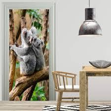 großhandel freies verschiffen diy tür aufkleber koala bär tier tür abziehbilder dekorationen für schlafzimmer wohnzimmer tapeten aufkleber