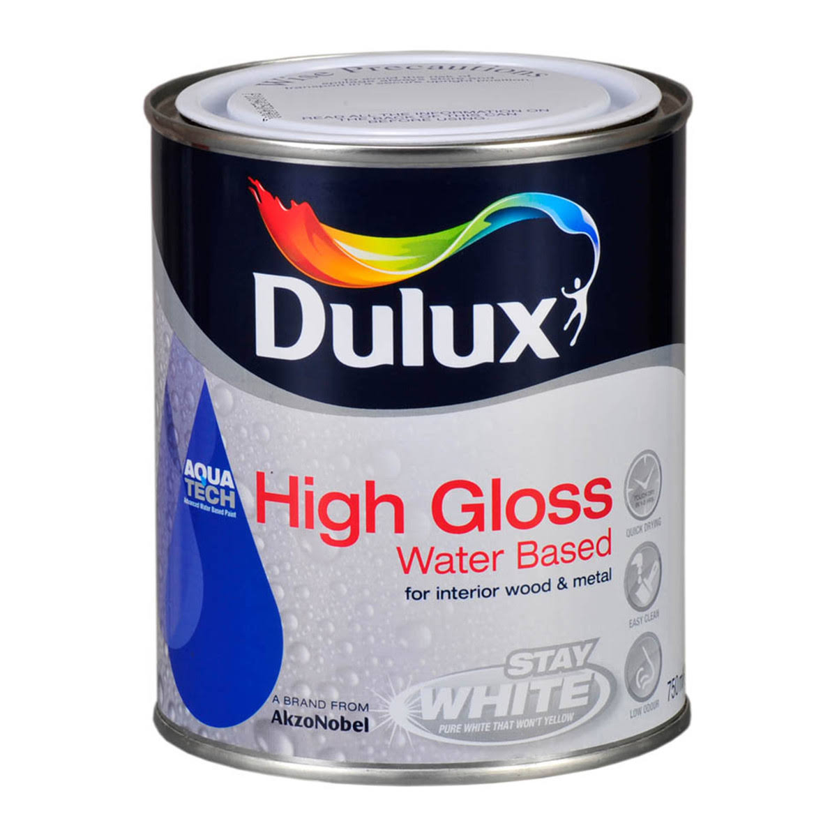 Dulux White High Sheen Emulsion Paint 0.75L Metal Container