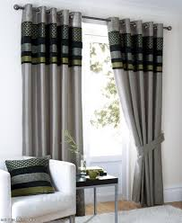 home design light grey living room curtain with black and green