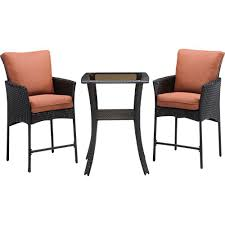 wicker bar height patio set hanover strathmere 3 all weather wicker square patio