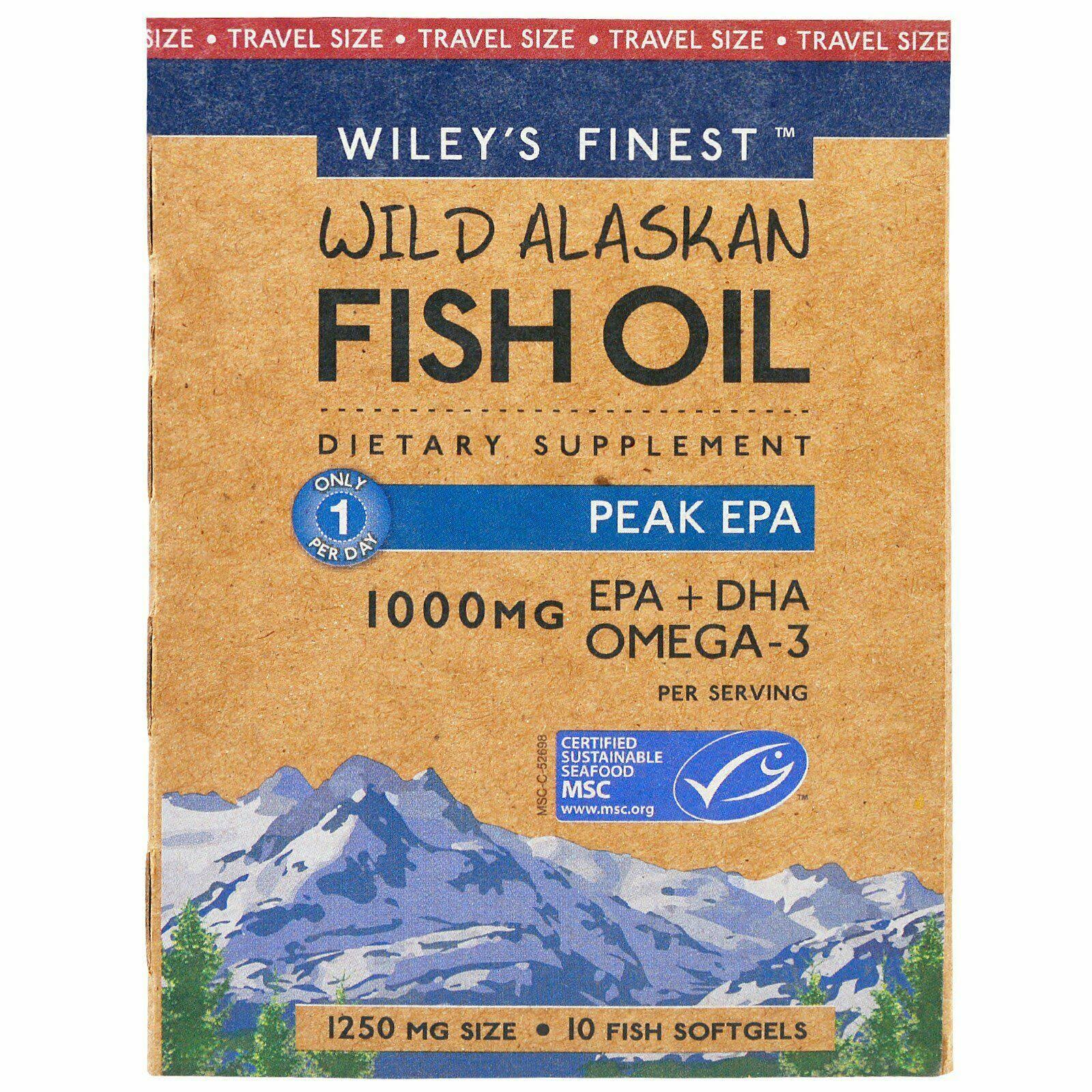 Wiley's Finest Wild Alaskan Fish Oil Peak EPA EPA + DHA Omega-3 Per Softgels - 1000mg