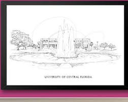 University Of Central Florida Fine Art Print Hand Drawn UCF State