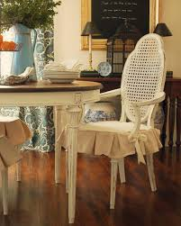 Dining Room Distressed White Chair With Skirted Seat Cover