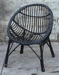 Vintage Retro Home Round Child S Childs Cane Wicker Bedroom Chair Circa 1960s Doll Teddy Black