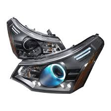 08 10 ford focus black single ccfl halo projector led headlights