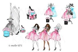 Fashion Clipart Girls Party Illustrations Creative Market