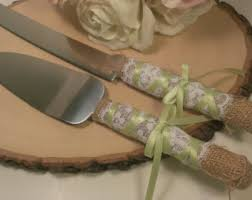Custom Color Rustic Wedding Cake Server And Knife Burlap Lace Cutter Country Serving